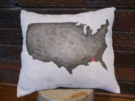 U.S. Silhouette Pillow Marking Your City