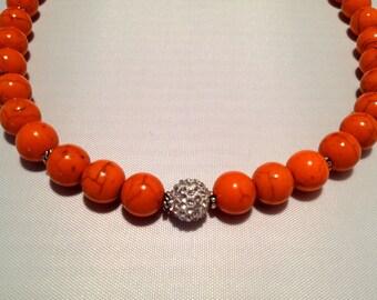 Tangerine Beaded Necklace