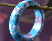 Forget Me Not bright blue upcycled bangle