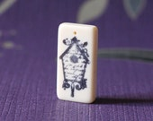 Bird house hand stamped upcyled domino necklace