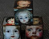 Old Vintage & Antique Porcelain Doll Faces OOAK Wooden Story Blocks
