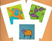 Card Set- Hangin Out MONKEY- BaaBaa Orange Sheep- Grow Vines and POLKA DOTS - Blank Inside Notecard Set by ThinkLocal- Cathi Spence