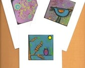 These Birds Are Not Singing The Blues - Set of 3 Blank Notecards by ThinkLocal