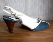 RESERVED for Katerina Vintage Peep Toe Heels - Size 8