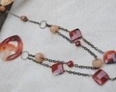 Carnelian / Peach Aventurine Brass Necklace