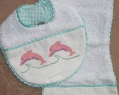 Hand made Embroidered Set Burpie/Bib Little Pink Dolphins