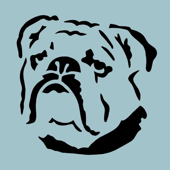 bulldog stencil items similar to portrait of a bulldog reusable plastic 2256