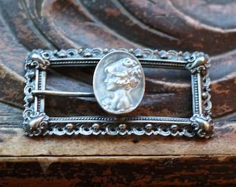 Unusual ornate antique victorian cameo head silver belt buckle
