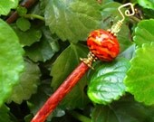 "Orange Lampwork Wood Shawl Pin Hair Stick  - ""Sticks and Stones"""