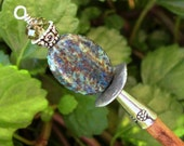 "Azurite Wood Shawl Pin Hair Stick  - ""Sticks and Stones"""