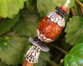 "Vintage Tibetan Amber Silver Wood Shawl Pin Hair Stick  - ""Sticks and Stones"""