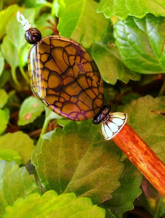 """Green Fire Agate Wood Shawl Pin Hair Stick  - """"Sticks and Stones"""""""