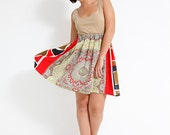 Gold Coin Paisley Day Dress - Red Vintage Geometric Pattern - Sustainable Womens Apparel by Tammy Jo