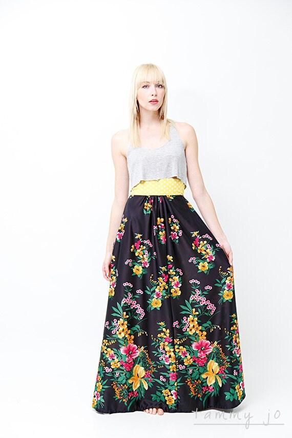 high waisted hawaiian floral maxi skirt by