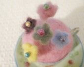 Hand Felted glittered Flower Pins in multi colors set of  6