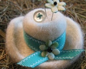 Farm Girl Hat Pincushion - Needle Felted
