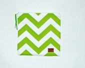 Reusable Sandwich Bag -Lime and White Chevron Stripe - Ready to Ship