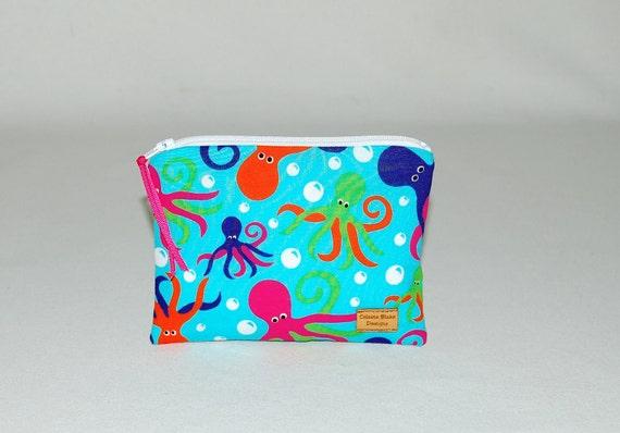 Reusable Snack Bag - Octopus on Aqua - Ready to Ship