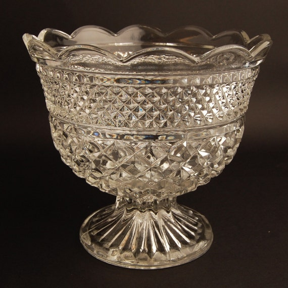 Vintage Wexford Pattern Glass Compote by Anchor Hocking