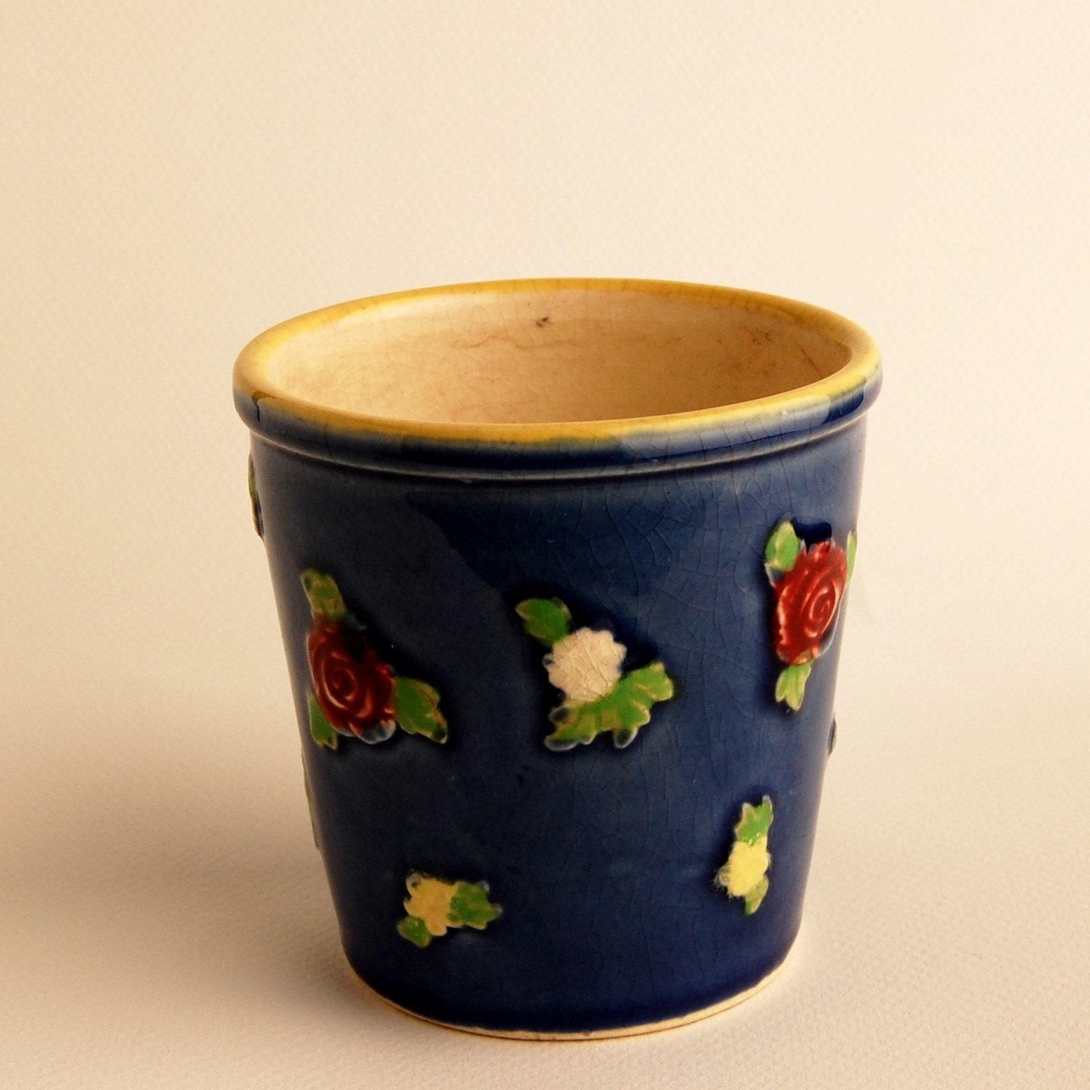 Vintage Japanese Majolica Flower Pot 1930's By Simplycoolstuff