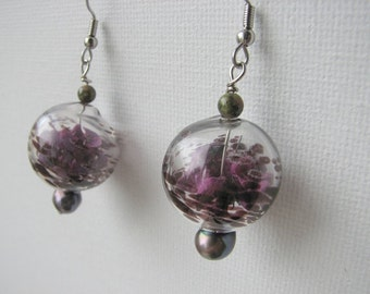 Dangle earrings | purple pearl | blown glass rounds | botanical | dried flowers