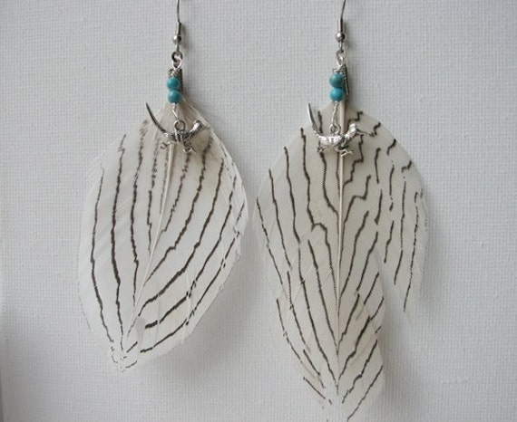 Long Feather Earrings Silver Roadrunner Turquoise - Desert Run
