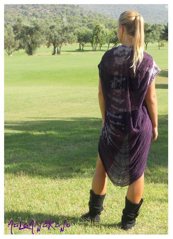 SALE OOAK bleach treated and shredded shirt in purple.