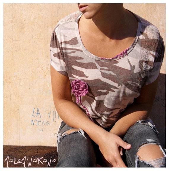 SALE. OOAK shredded T-shirt. Army chic.