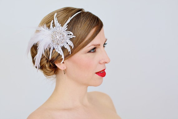 Feather Fascinator, Venice Lace Starburst with Rhinestone Jewel