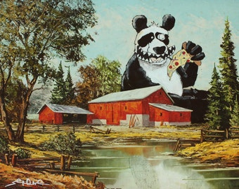 Panda Pizza Party 8.5 x 11 Art Print