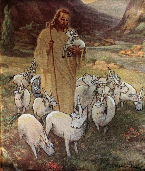 Jesus and His Fat Ass Unicorns 8.5 x 11 Print