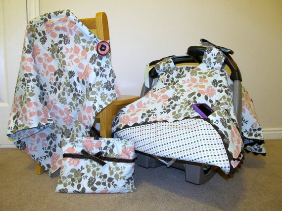 Muted Pink, Green, and Blue Carseat Canopy, and Nursing Cover  (with bag)