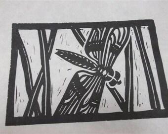 Dragonfly block print