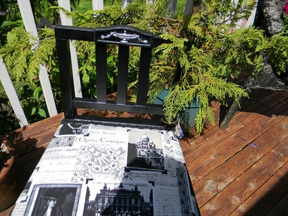 Vintage French Sewing Chair Painted Black Silver Detail