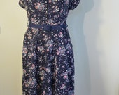 1940s Navy Floral Dress (XL)