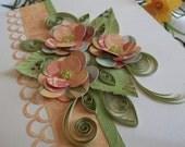 Quilled Flower Greeting Card Peach Hydrangea