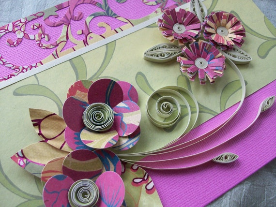 Quilled Flower Greeting Card Pink and Lime