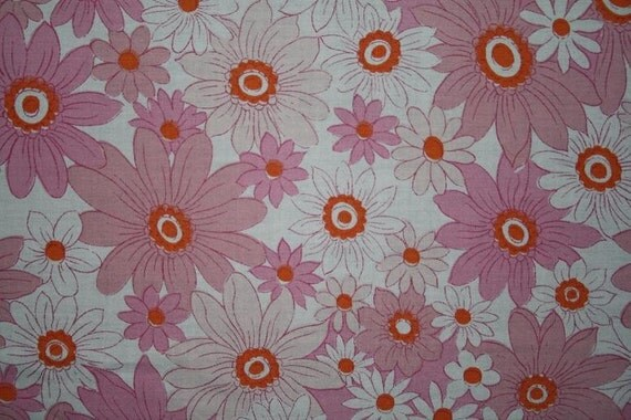 vintage fabric retro pink peach pumpkin and white floral