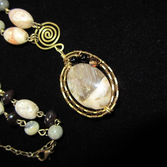 Wire Wrapped Jasper Stone and brass necklace - PERFECT Nuetral necklace