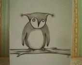 Original owl drawing, fine art note card 4.25x5.5