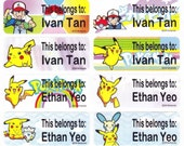 40 POKEMON/PIKACHU Custom Vinyl Name Labels-School,Daycare,Envelope Seal,Sippy Cup,Lunch Box,Water Bottle,Summer Camp,Stationary Tag