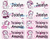 40 PINK KITTY Custom Waterproof Name Labels-School,Daycare,Envelope Seal,Sippy Cup,Lunch Box,Water Bottle,Summer Camp,Stationary Tag