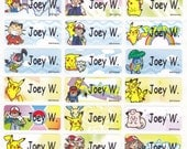 72 POKEMON/PIKACHU Custom Vinyl Name Labels-School,Daycare,Envelope Seal,Sippy Cup,Lunch Box,Water Bottle,Summer Camp,Stationary Tag