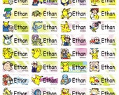 120 POKEMON/PIKACHU Custom Waterproof Name Labels-School,Daycare,Envelope Seal,Sippy Cup,Lunch Box,Water Bottle,Summer Camp,Stationary Tag