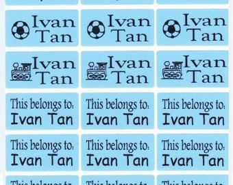 72 BLUE Custom Waterproof Name Labels-School,Daycare,Envelope Seal,Sippy Cup,Lunch Box,Allergic Label,Water Bottle,Summer Camp