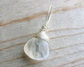 ON SALE White Wire Wrapped Pendant, Moonstone Pendant, White Simple Pendant, Dangle, Sterling Silver, SNOW