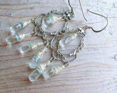 Quartz Earring - Pastel Blue Earring - Silver Wire Wrapped Earring - Gemstone Earring