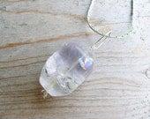 Amethyst Silver Wire Wrapped Pendant - Pastel Purple Gemstone Dangle Pendant - Spring Fashion