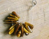 Gold Brown Tigers Eye Pendant - Sterling Silver Wire Wrapped Pendant - Gemstone Pendant