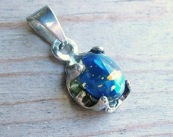 SALE Blue Gemstone Cabochon Sterling Silver Pendant